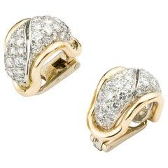 Pair of pave diamond hoop clip earrings