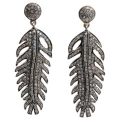 Pair of Pave`-Set Diamond Feather Dangle Earrings