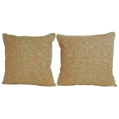 "Pair of Peach Fortuny ""Uccelli"" Printed Vintage Decorative Pillows"
