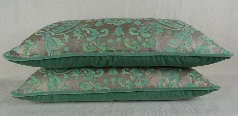 Baroque Pair of Peacock Carnavalet Fortuny Textile Pillows For Sale