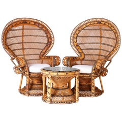Pair of Peacock Chairs and Matching Table