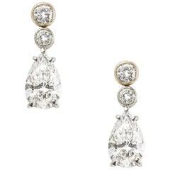 Pair of Pear Shaped Diamond Drop Earrings