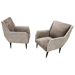 Pair of Pearl Grey and Taupe Velvet Armchairs in the Style of Gio Ponti, Italy