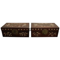 Pair of Pearl Inlaid Rosewood Boxes