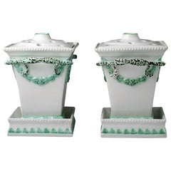 Pair of Pearlware Pottery Fern or Flower Vases Late 18th Century Staffordshire