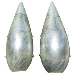 Pair of Pearly White Resin Wall Sconces Italian Mid-Century Modern Design