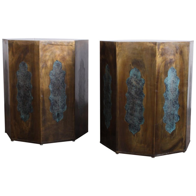 Pair of Pedestal Table Bases by Philip & Kelvin LaVerne For Sale