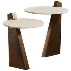 Pair of Pedestal Table in Travertine by Studio Glustin