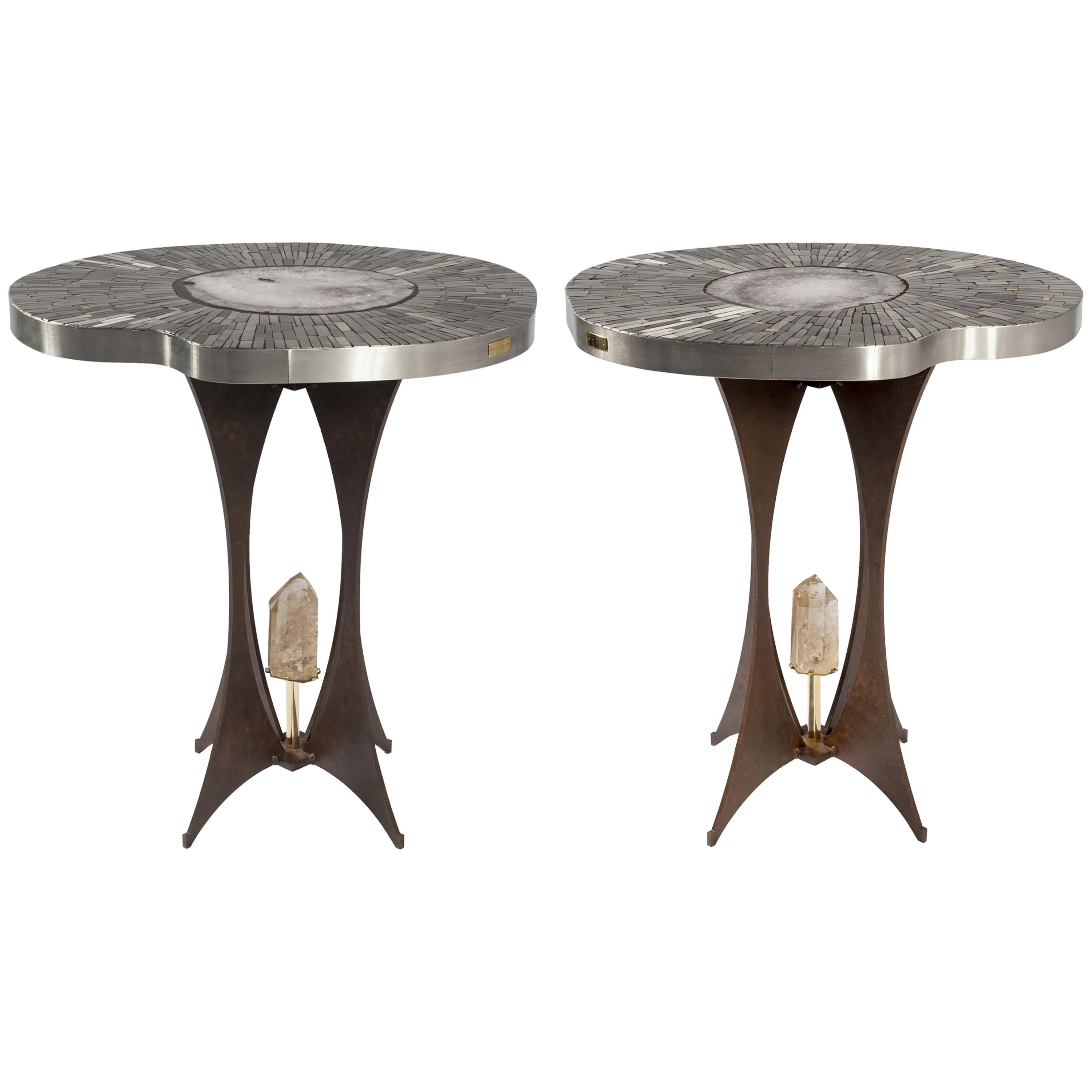 Pair of Pedestal Tables in Mosaic and Gemstone by Stan Usel