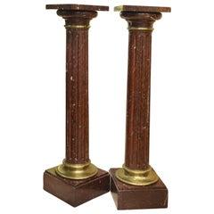 Pair of Pedestals 'Column', Rouge Griotte, Gilt Bronze, France, circa 1900