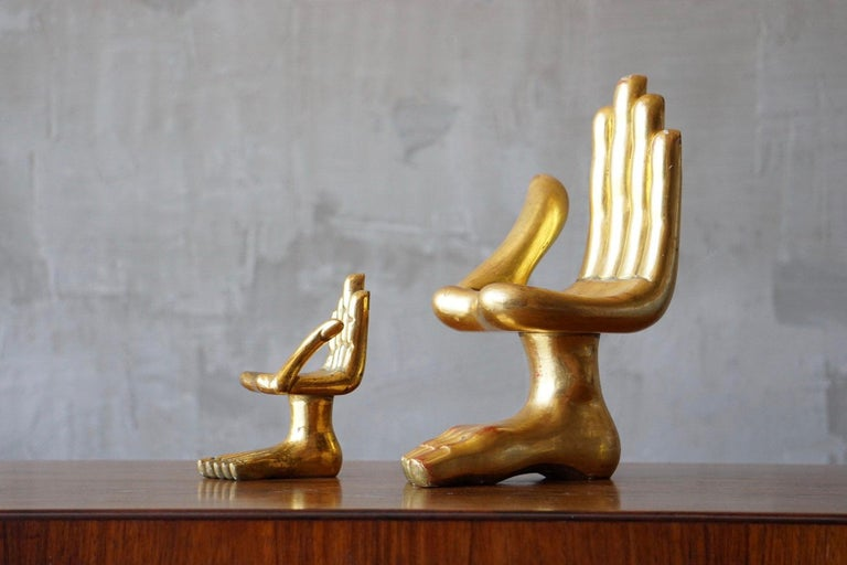 Mid-Century Modern Pair of Pedro Friedeberg Hand Foot Sculptures For Sale