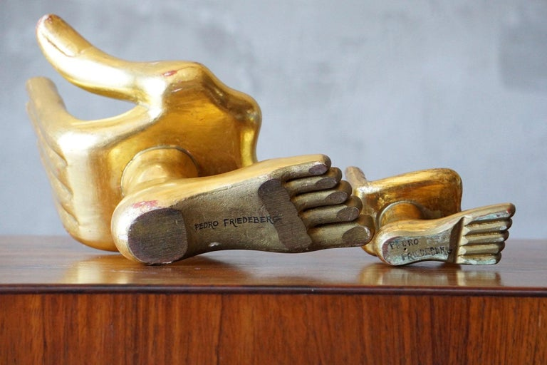 Mexican Pair of Pedro Friedeberg Hand Foot Sculptures For Sale