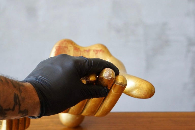 Gold Leaf Pair of Pedro Friedeberg Hand Foot Sculptures For Sale