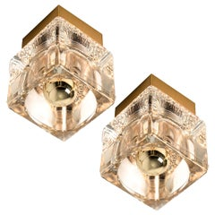 Pair of Peill & Putzler Wall/Ceiling Lights Brass and Glass Cubes, 1970s