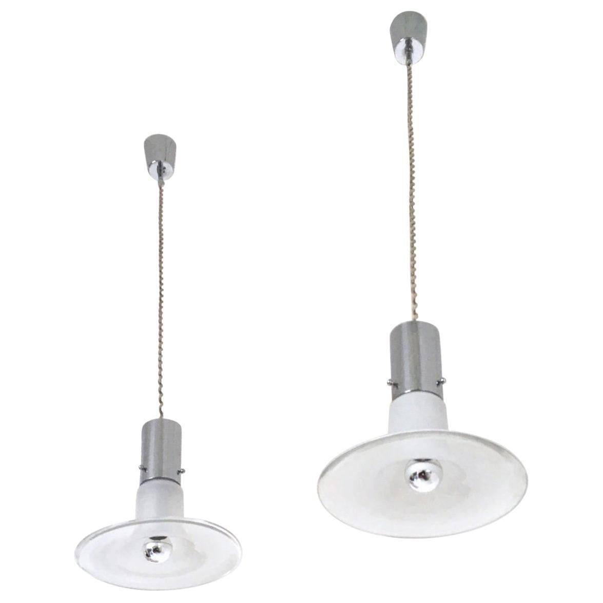 Pair of Pendants Ascribable to Alessandro Pianon for Vistosi, Italy
