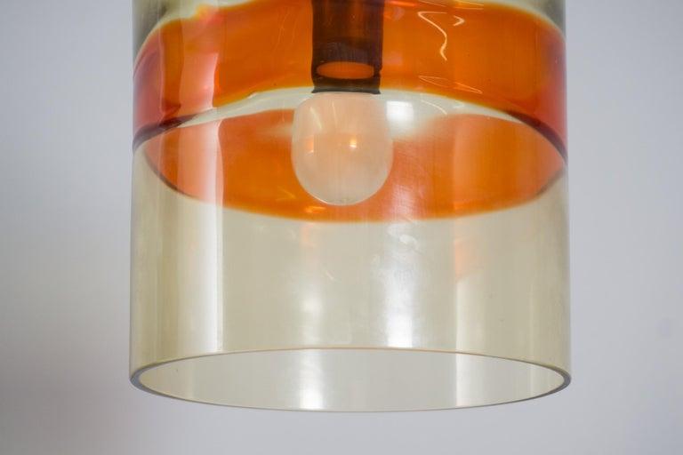 Brass Pair of Pendants, Handblown Glass, Flavio Poli/Seguso, 1958 For Sale