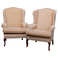 Pair of Pennsylvania House Queen Anne Style Wingback Armchairs, 20th C