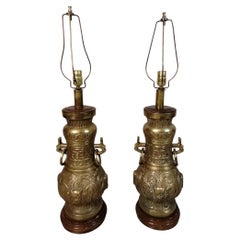 Pair of Pepe Mendoza Chinoise Bronze Table Lamps