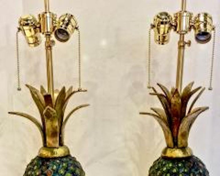 Mid-Century Modern Pair of Pepe Mendoza Midcentury Pineapple Lamps For Sale