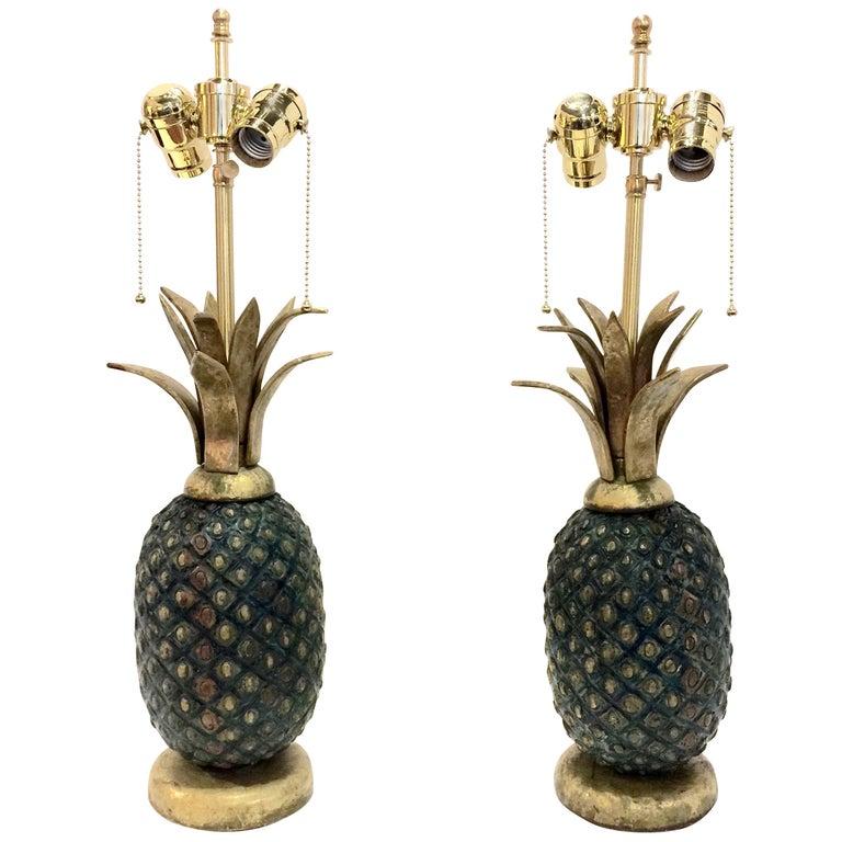 Pair of Pepe Mendoza Midcentury Pineapple Lamps For Sale