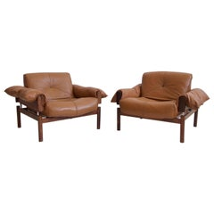 Pair of Percival Lafer Brown Leather Armchairs