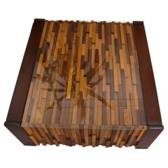 Pair of Percival Lafer Coffee Table Brazilian Rosewood Exotic Wood Mosaic