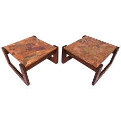 Pair of Percival Lafer Copper Patchwork and Jacaranda End Tables, circa 1970s