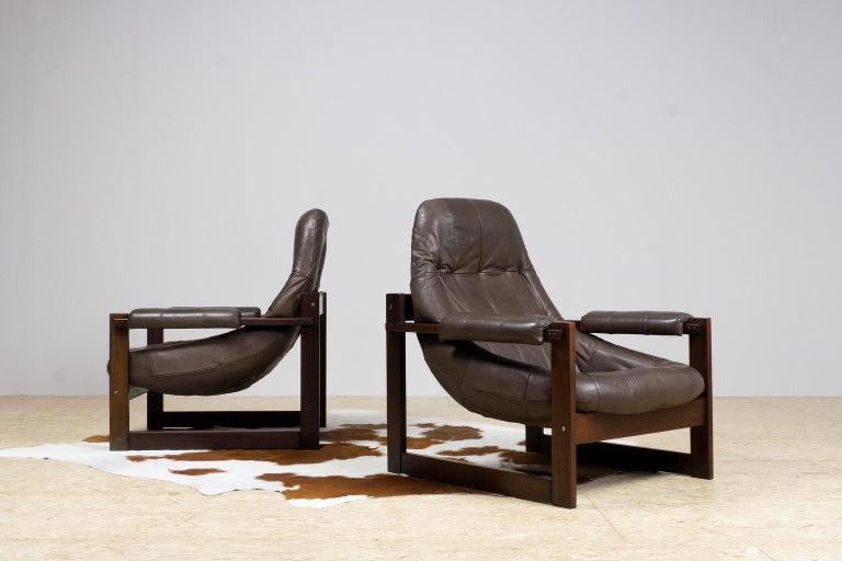 Mid-Century Modern Pair of Percival Lafer Leather Lounge Chairs in Brown Brazilian Modern For Sale