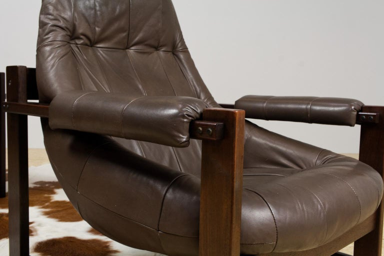 Late 20th Century Pair of Percival Lafer Leather Lounge Chairs in Brown Brazilian Modern For Sale