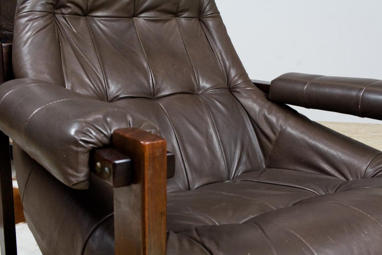 Pair of Percival Lafer Leather Lounge Chairs in Brown Brazilian Modern For Sale 2