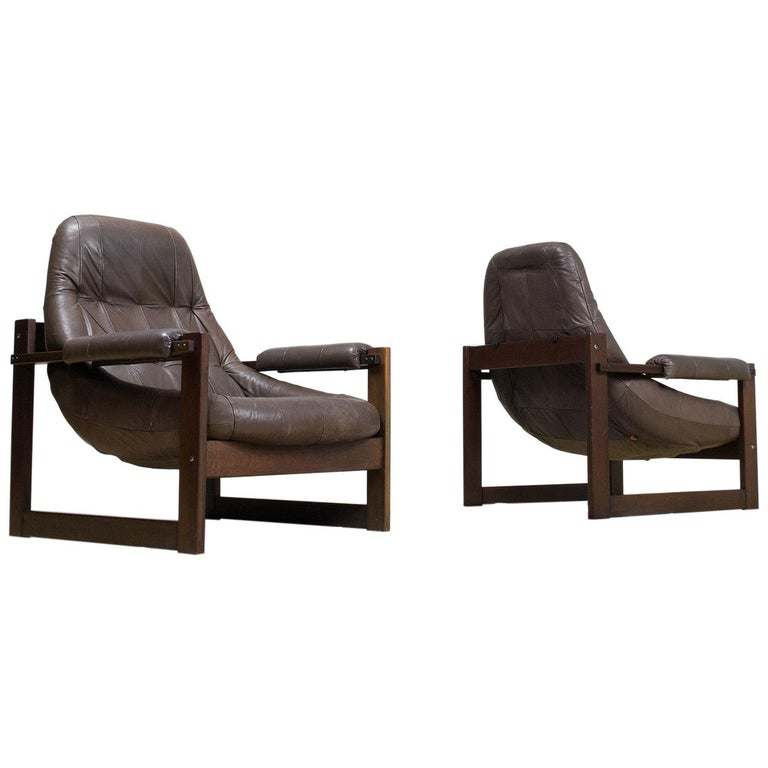 Pair of Percival Lafer Leather Lounge Chairs in Brown Brazilian Modern For Sale