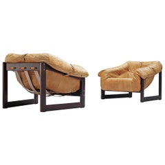 Pair of Percival Lafer 'MP-091' Lounge Chairs in Cognac Leather