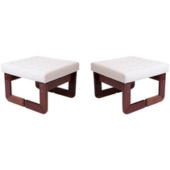 Pair of Percival Lafer Rosewood and Tufted Leather Upholstered Ottomans