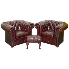 Perfect Chesterfield Club Armchairs in Oxblood Leather and Footstool Suite, Pair
