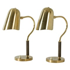 Pair of Perforated Brass Table Lamps for Boréns, Sweden, 1950s