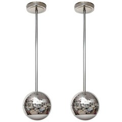 Pair of Perforated Chrome Globe Pendant Lights