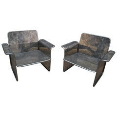 Pair of Perforated Metal Chairs Italie, circa 1960