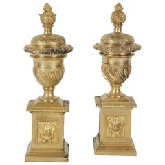 Pair of Period English Baroque Gilded Bronze Fire Dogs