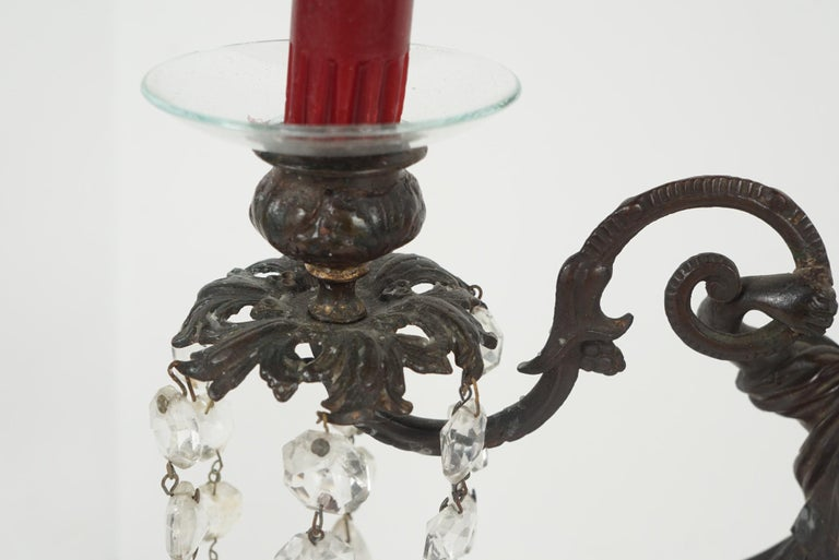 Pair of Period English Regency Cast Bronze and Rock Crystal Candlesticks For Sale 5