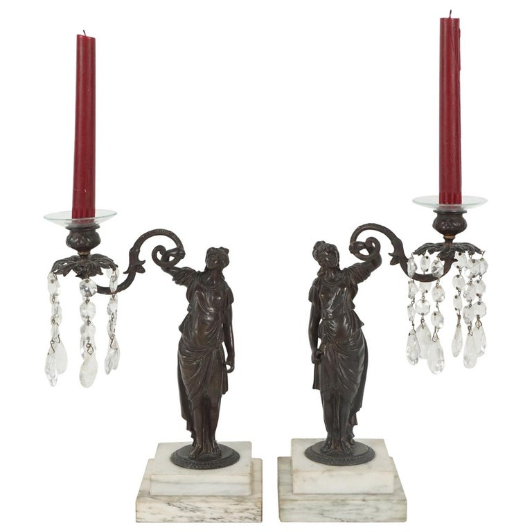 Pair of Period English Regency Cast Bronze and Rock Crystal Candlesticks For Sale