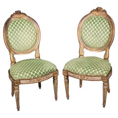 Pair of Period French 1780s Era Louis XVI Paint Decorated Gilded Side Chairs