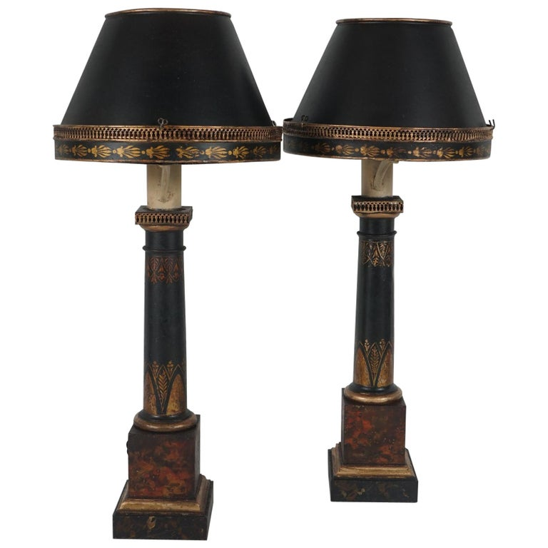 Pair of Period French Empire Tole Oil Lamps For Sale