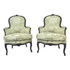 Pair of Period French Louis XV Carved Bergeres Cabriolet, Paris, circa 1760