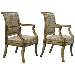 Pair of Period Italian Open Armchairs