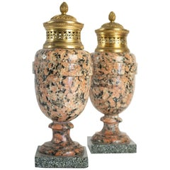 Pair of Period Louis XVI Rose Granite Urns with Gold Gilt Bronze, 18th Century