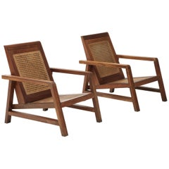 Pair of Modernist Period Pierre Jeanneret Style Chairs, France, c. 1950