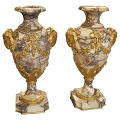 Pair of Period Napoleon III Marble and Gilt Bronze Cassolettes from France