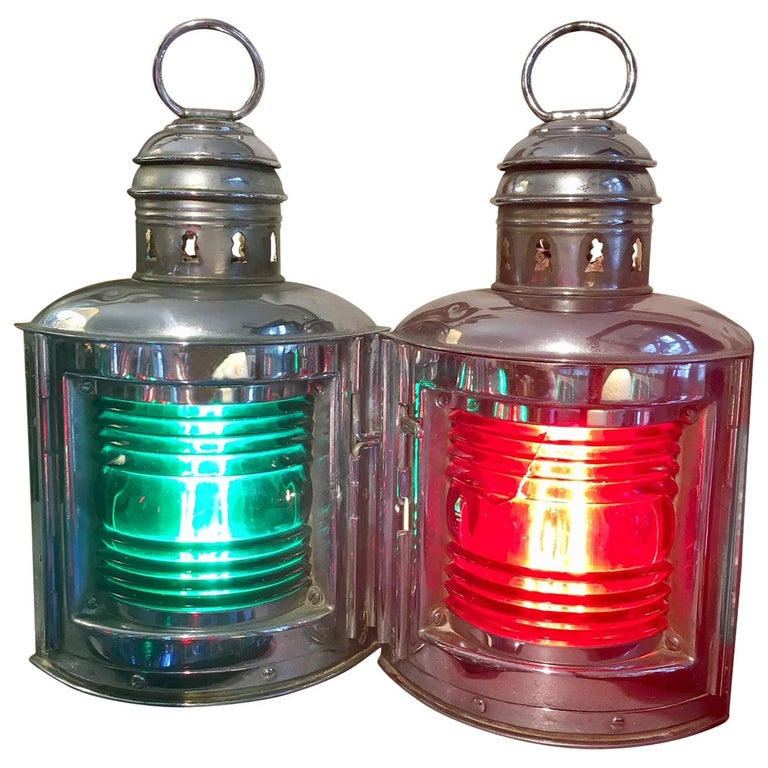 Pair of Perko Yacht Chrome Plated Bow Running Lights, circa 1950 For Sale