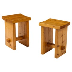 Pair of Perriand Style Brutalist Pine Stools, France, 1960's