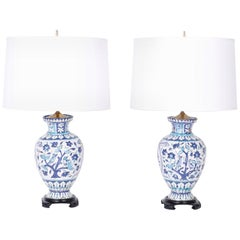 Pair of Persian Blue and White Glazed Terracotta Table Lamps